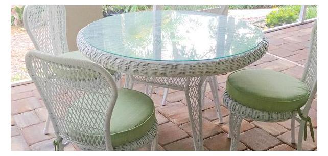 Custom Round Sunbrella Seat Cushions With Ties Unify Spacious Lanai