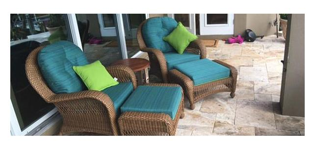 Chair and Ottoman Cushions Made with Sunbrella by Silver State Calypso-Turquoise