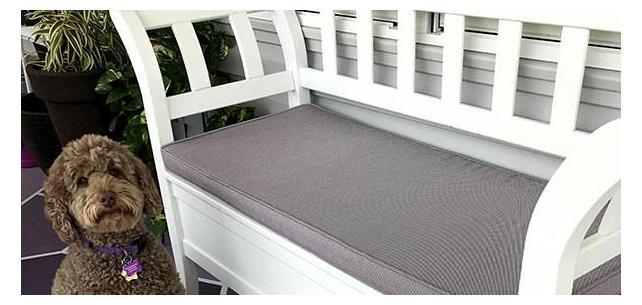 Bailey Approves Custom Bench Cushion with Sunbrella Sling Augustine Amethyst