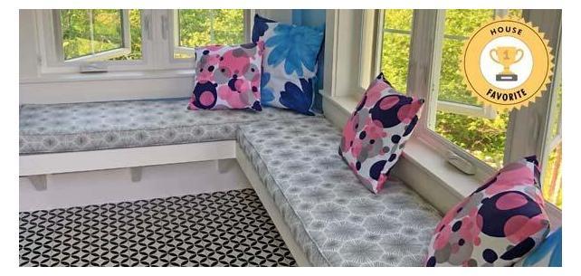 Sparkler Iridium By Silver State Sunbrella Makes for Stunning Window Seat Cushions