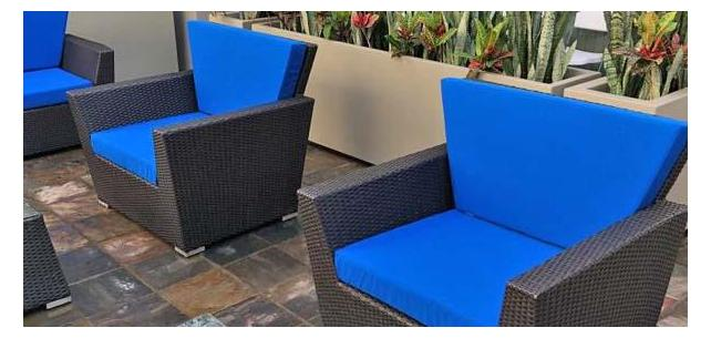 LA Apartments Courtyard Brightened with All New Sunbrella Pacific Blue Cushions