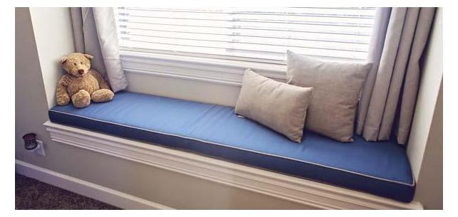 Sunbrella Canvas Sapphire Blue Bench Cushion Rounds Out Comfy Window Seat