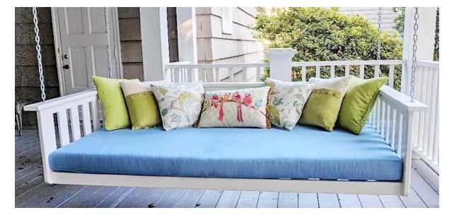 Sunbrella Canvas Air Blue Daybed Cushion Shines on Bright Porch