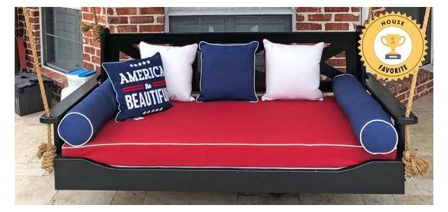 Patriotic Bed Swing Cushions and Pillows Bring the Spirit of the USA to This Rustic Porch