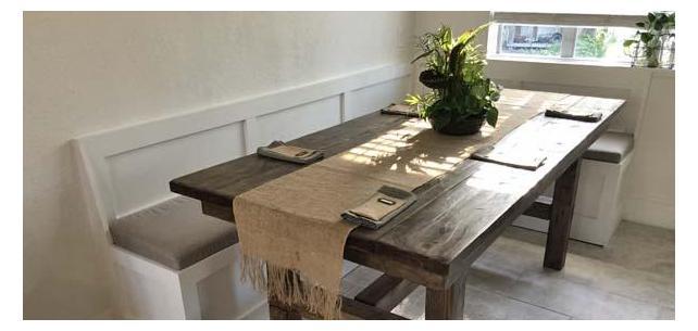 Rustic Built-In Breakfast Nook Enhanced with Sunbrella Cast Ash Cushions