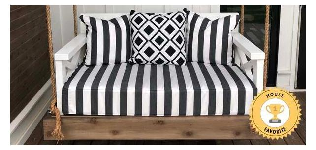 Classic Black and White Sunbrella Doesn't Disappoint on This Rustic Porch Swing Stunner