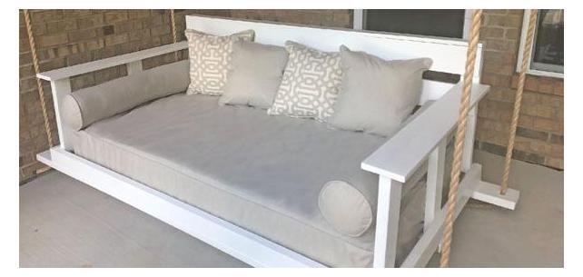 Sunbrella Neutrals Blend Well on Roomy Porch Swing Bed