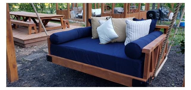 With Sunbrella Canvas Navy, This Patio Is The Perfect Spot to Hang Out Every Season