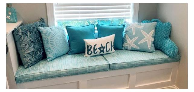 Perfect Pair of Bench Cushions Form this Nautical Themed Space