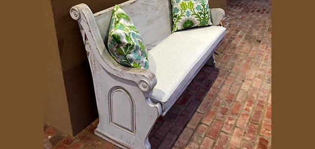 Antique Bench Gets New Cushion in Sunbrella Linen Silver