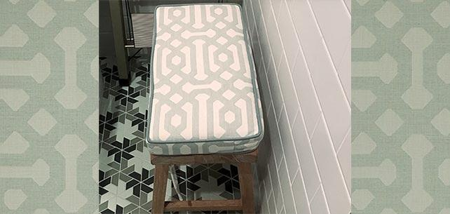 Bold Pattern Choice Covers Laundry Room Bench Cushion with Sunbrella Fretwork Mist