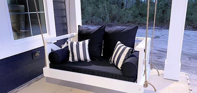 Porch Swingbed Gets a Full Makeover with Sunbrella Canvas Navy