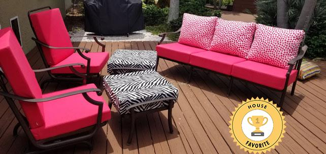 Sunbrella and Thibaut Cushions Turn This Patio into a Hot Pink Paradise