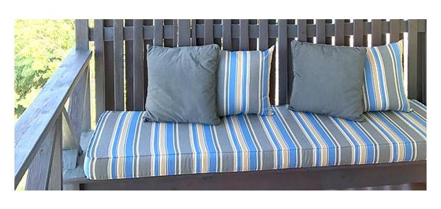 Robert Allen Sunbrella Boca Linda Blue Tide Modernizes Rustic Retreat