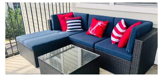 Sunbrella Blend Indigo Cushions Make This Patio Super Inviting
