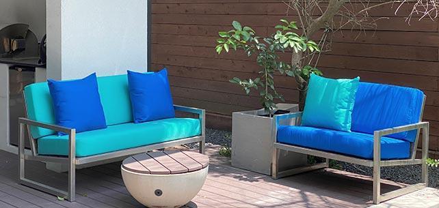 Complementary Ocean Colors Make a Pair of Custom Loveseat Cushions Swim