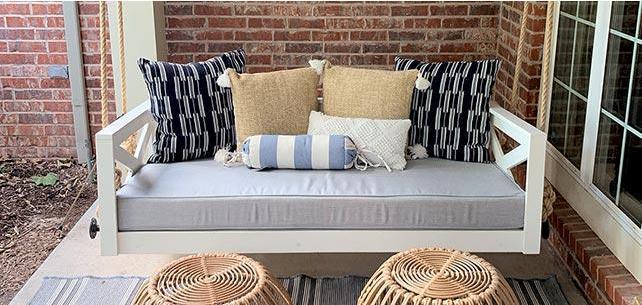 Sunbrella Canvas Granite Swing Cushion Grounds Rustic Porch
