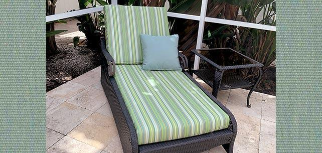 Sunbrella Foster Surfside Chaise Cushion Triumphs Over the Elements