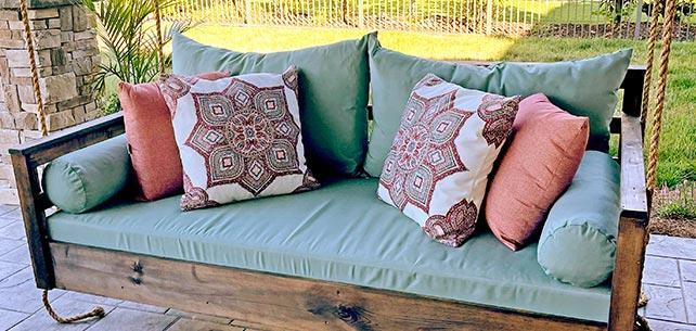 Sunbrella Canvas Glacier Daybed Cushion Set Cools Off a Porch Swing