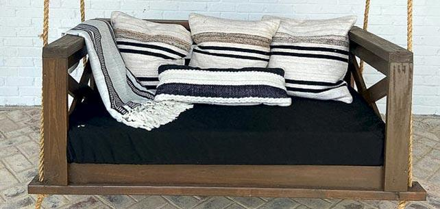 Classic Black Daybed Cushion Cover Anchors Rustic Porch Swing