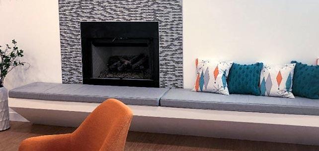 Sunbrella Canvas Granite Bench Cushions Enhance Midcentury Modern
