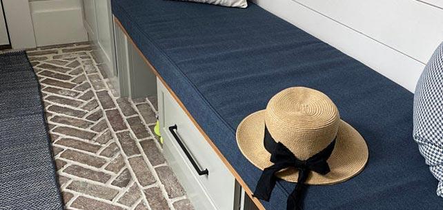 Perfect Mud Room Bench Cushion in Sunbrella Blend Indigo