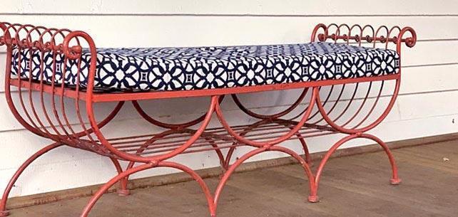 Ornate Cushion in Sunbrella Luxe Indigo Complements Antique Bench
