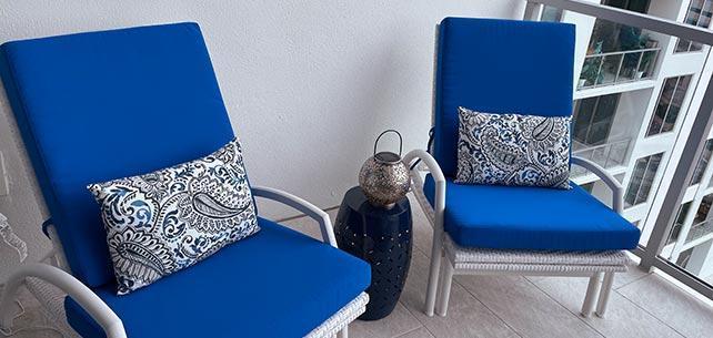 Condo Balcony Goes Vibrant With Sunbrella Canvas Pacific Blue