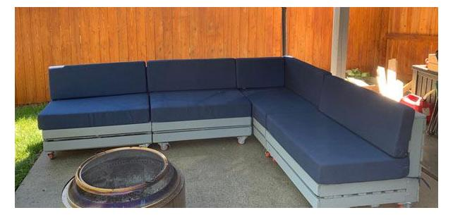 Custom Seat and Back Cushions Turn this Backyard into a Lounge