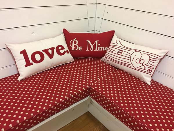 Valentines Day Cushions and Pillows Create Cute and Cozy Breakfast Nook