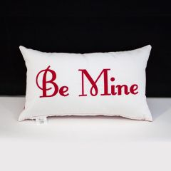 Sunbrella Monogrammed Holiday Pillow - 20x12 - Valentines - Be Mine - Red on White with Red Back