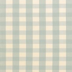 F Schumacher Camden Cotton Check Aqua 63037 Indoor Upholstery Fabric