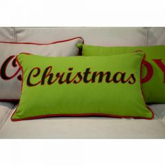 Sunbrella Monogrammed Holiday Pillow - 20x12 - Christmas - Dark Green / Red on Green with Red Back and Welt