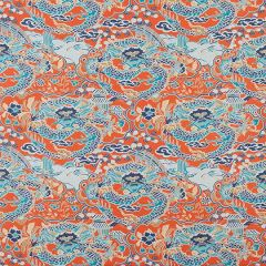 Thibaut Imperial Dragon Coral and Turquoise F914237 Imperial Garden Collection Multipurpose Fabric