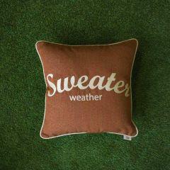 Sunbrella Monogrammed Pillow - 20x20 - Sweater Weather - Beige on Brown with Beige Welt