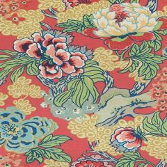 Thibaut Honshu Coral and Green F975490 Dynasty Collection Multipurpose Fabric
