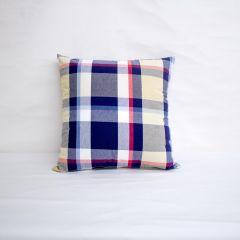 Indoor Patio Lane Plaid Blue Yellow - 18x18 Throw Pillow (quick ship)