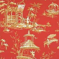 Thibaut Meridian Red F95302 Tea House Collection Multipurpose Fabric