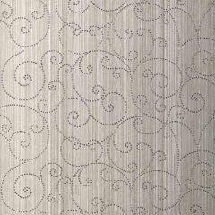 F-Schumacher Beaded Scroll-Pewter 5005721 Luxury Decor Wallpaper