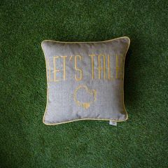 Sunbrella Monogrammed Holiday Pillow - 18x18 - Thanksgiving - Let's Talk Turkey - Gold on Grey with Gold Welt