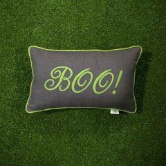 Sunbrella Monogrammed Holiday Pillow - 20x12 - Halloween - Boo - Lime Green on Dark Grey with Lime Green welt