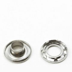 Dot Self-Piercing Rolled Rim Grommet with Spur Washer #2 Stainless Steel 3/8 inch  1-gross (144)