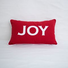 Sunbrella Monogrammed Holiday Pillow - 20x12 - Christmas - JOY - White on Red with White Welt