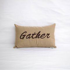 Sunbrella Monogrammed Holiday Pillow - 20x12 - Thanksgiving - Gather - Brown on Beige