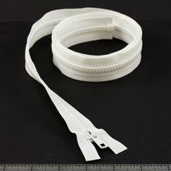 YKK Vislon #5 Separating Zipper AutoLok Short Single Pull Metal Slider VSOL56 48 inch White
