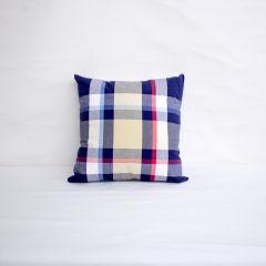 Indoor Patio Lane Plaid Blue Yellow - 15x15 Throw Pillow (quick ship)