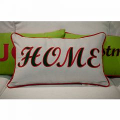 Sunbrella Monogrammed Holiday Pillow - 20x12 - Christmas - HOME - Red / Dark Green on Grey with Red back and welt