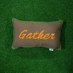 Sunbrella Monogrammed Holiday Pillow - 20x12 - Thanksgiving - Gather - Orange on Brown with Lime Green Welt