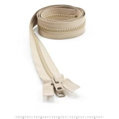 YKK Vislon #10 Separating Zipper AutoLok Short Double Pull Metal Slider VFUVOL-107 DX E 48 inch Light Beige