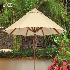 Fiberbuilt 11ft Octagon Wood Market Umbrella With Sunbrella Fabric